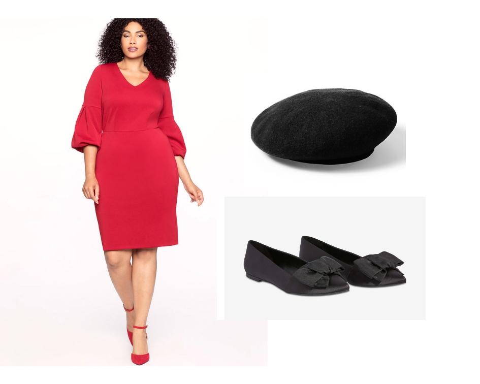 Dress:  Eloquii  $99 US  Flats:  Joe Fresh  $39 CAD  Beret:  Banana Republic  $50 CAD