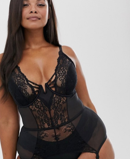 Simply Be Valentines lace plunge suspender slip in black ($63 CAD)