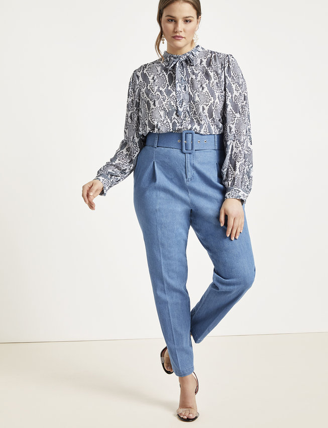 Eloquii - High Waisted Denim Trouser with Belt ($69.95 CAD)