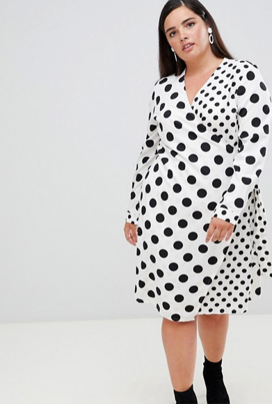 Asos - Unique 21 Hero polka dot long sleeve wrap dress ($58.91 CAD)