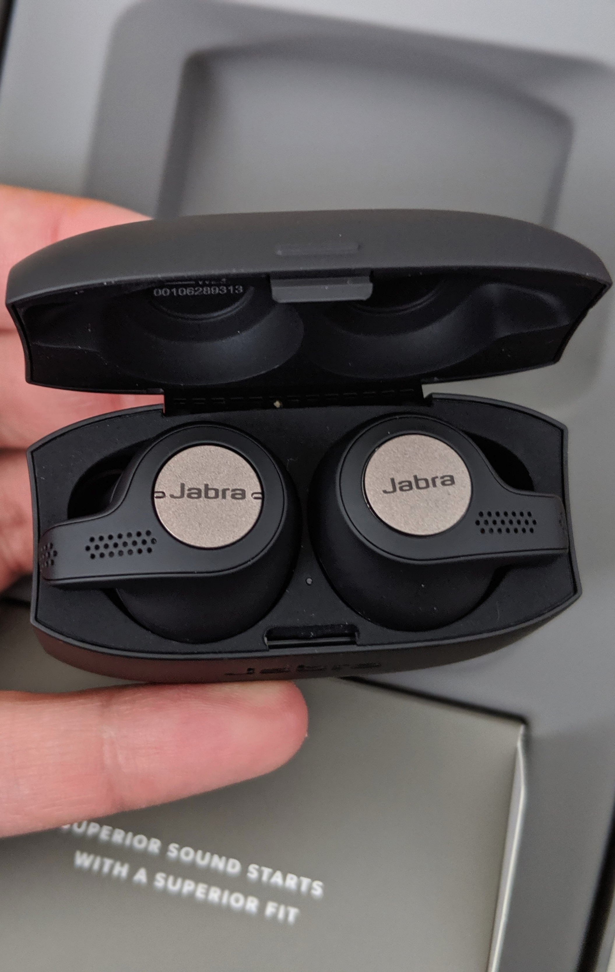 The Wireless Headphones inside the Charging Case