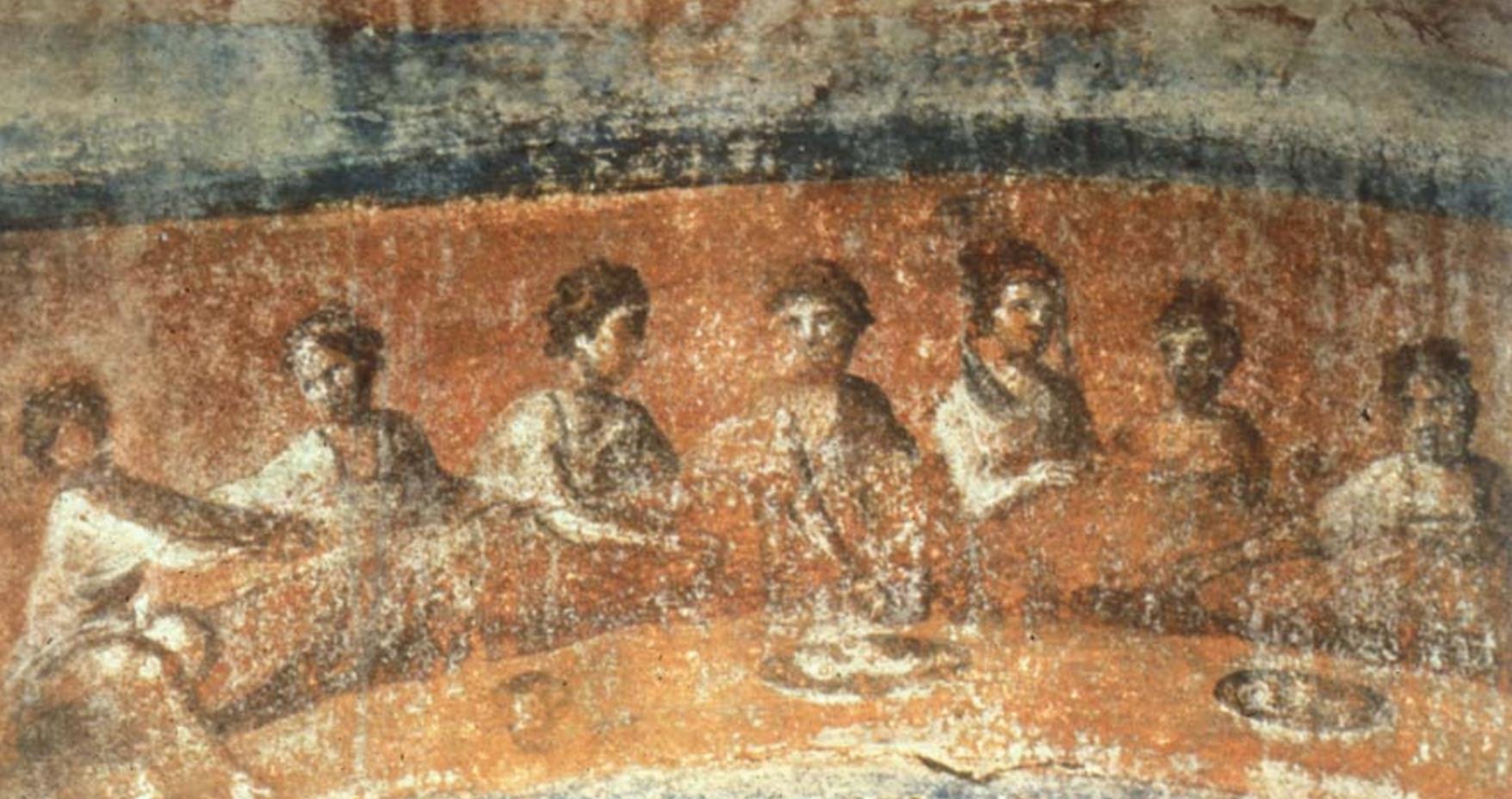 Fractio Panis , Banquete eucarístico en la Catacumba de Priscila, Roma