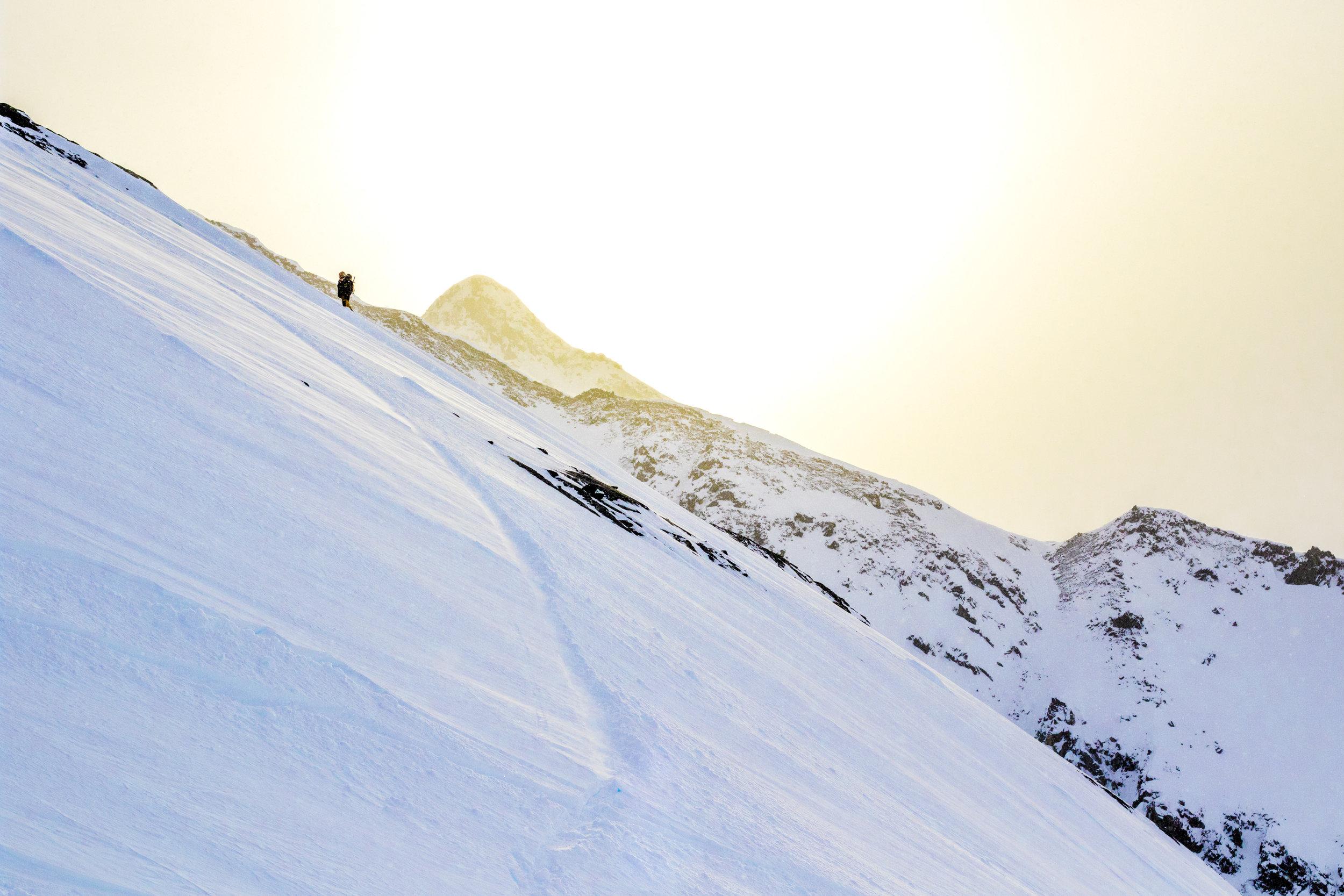 snowbaord alaska sunset