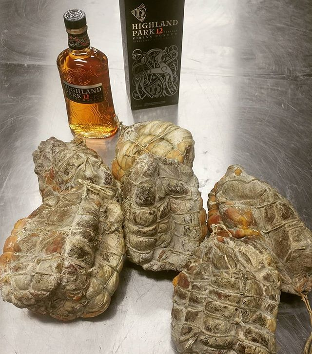 12 months meets 12 years. After relieving the casings and bindings of their duties, these @bearflowerfarm Culatelli will get a @highlandparkofficial Viking Honour soak to impart it's rich smokey sweet peat and to soften the age. @meuwlys