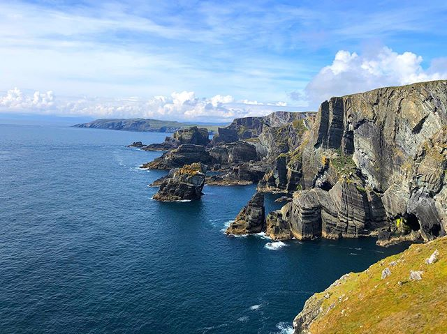 Ireland, you dramatic. Looking off the far southwestern point of Ireland. #mizenhead #ireland #cliffs #bluesky #travel #wanderlust #1ms2019