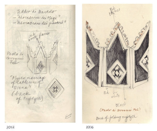Siena: Compelling   Coincidence of Sketchbook Subject  (2006 & 2012)