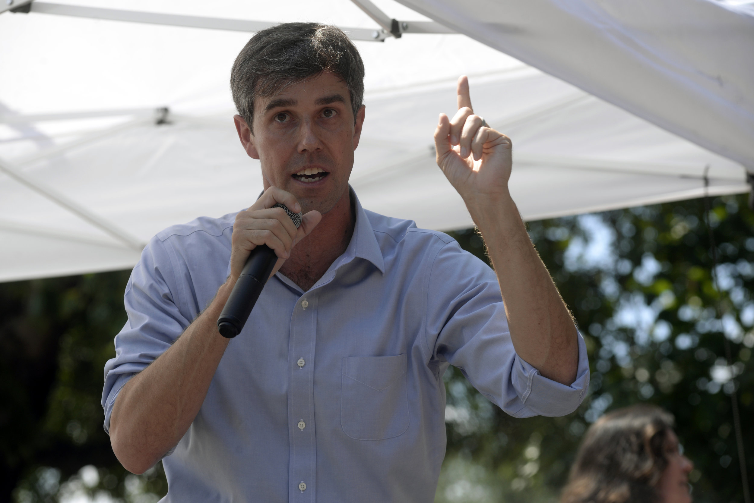 Senate candidate Beto O'Rourke speaks to Denton County residents Saturday during a town hall event at Backyard on Bell in Denton, Texas. Jake King/DRC
