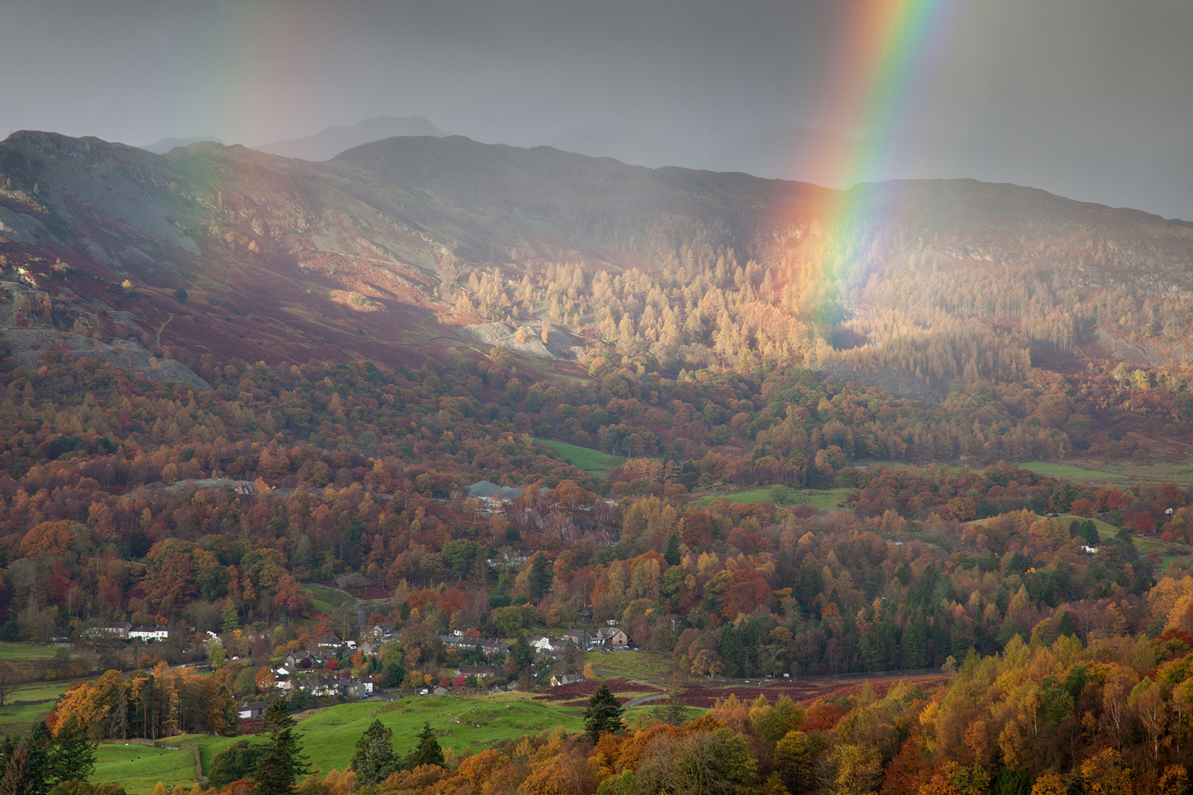 Rainbow over Skelwith Bridge, Langdale Valley, Cumbria