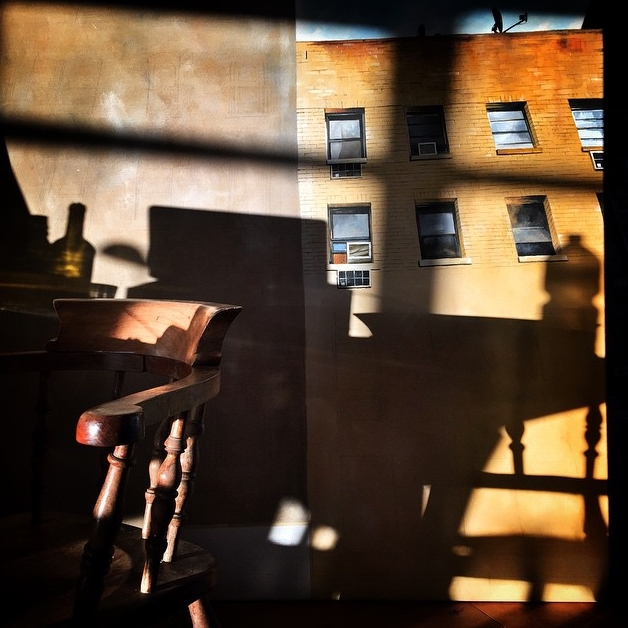 morning light on a work in progress | Chinatown, NYC  Acrylic on canvas 5' x 5' NYC Series 2015