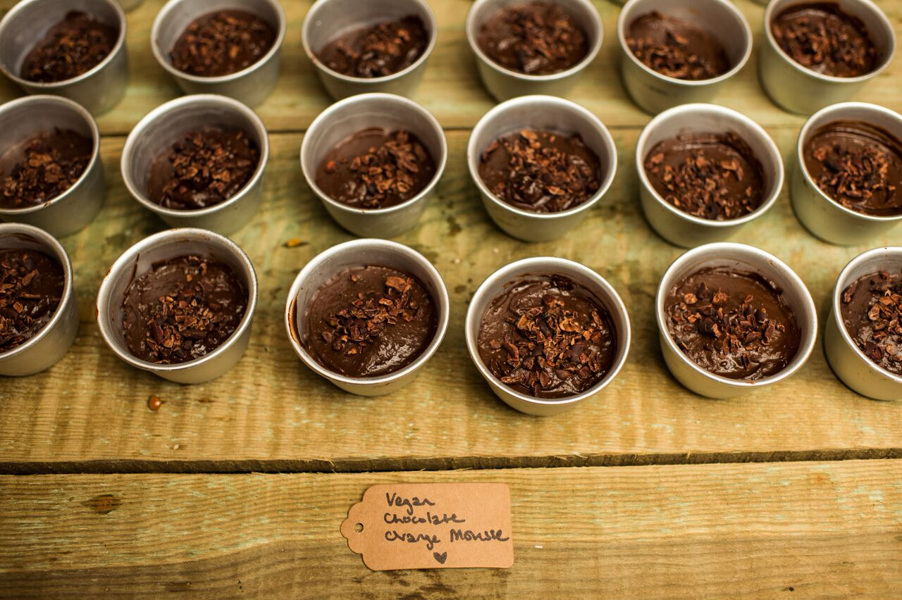 Vegan chocolate orange mousse with cacao nibs