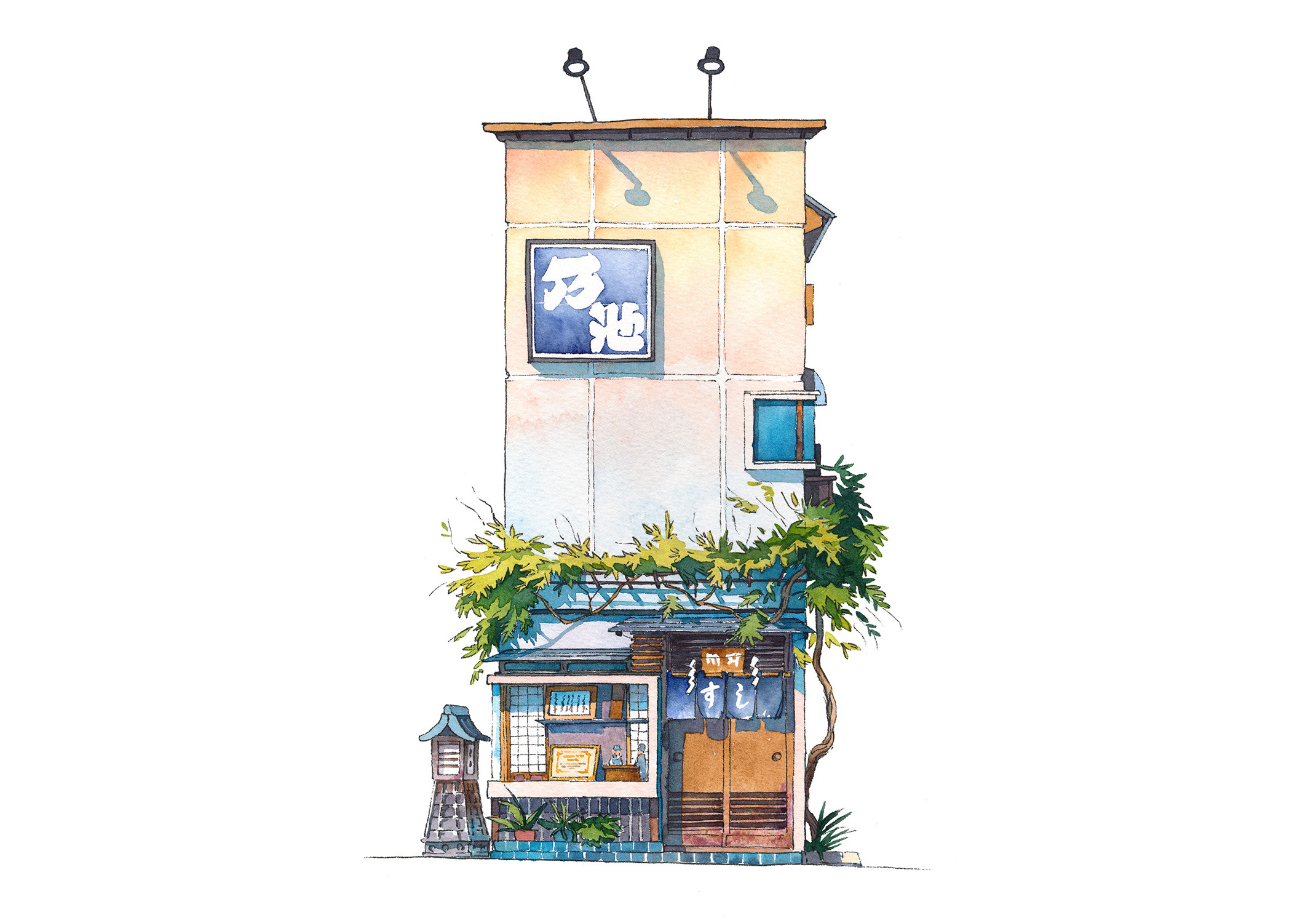 Noike sushi restaurant from Yanaka district