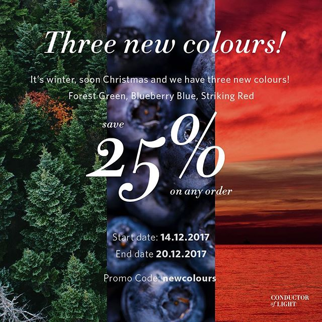 To celebrate our new colours and that's soon Christmas, save 25% om any product at our store from 14.12.2017 to 20.12.2017! #promocode #promotion #newcolour #newcollection #newstuff #reflectivetweed #loveleycolours #blueberryblue #strikingred #forestgreen #25percent #store #producthunt #news #christmas #2017