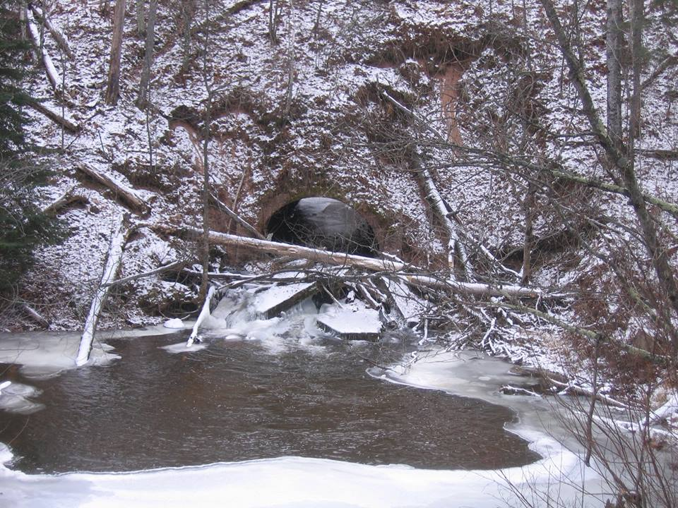 The Culvert at issue.  Located on Nabagamon Creek, a tributary of the Brule.  If this fails, massive amounts of sand will enter the river and slowly work downstream.