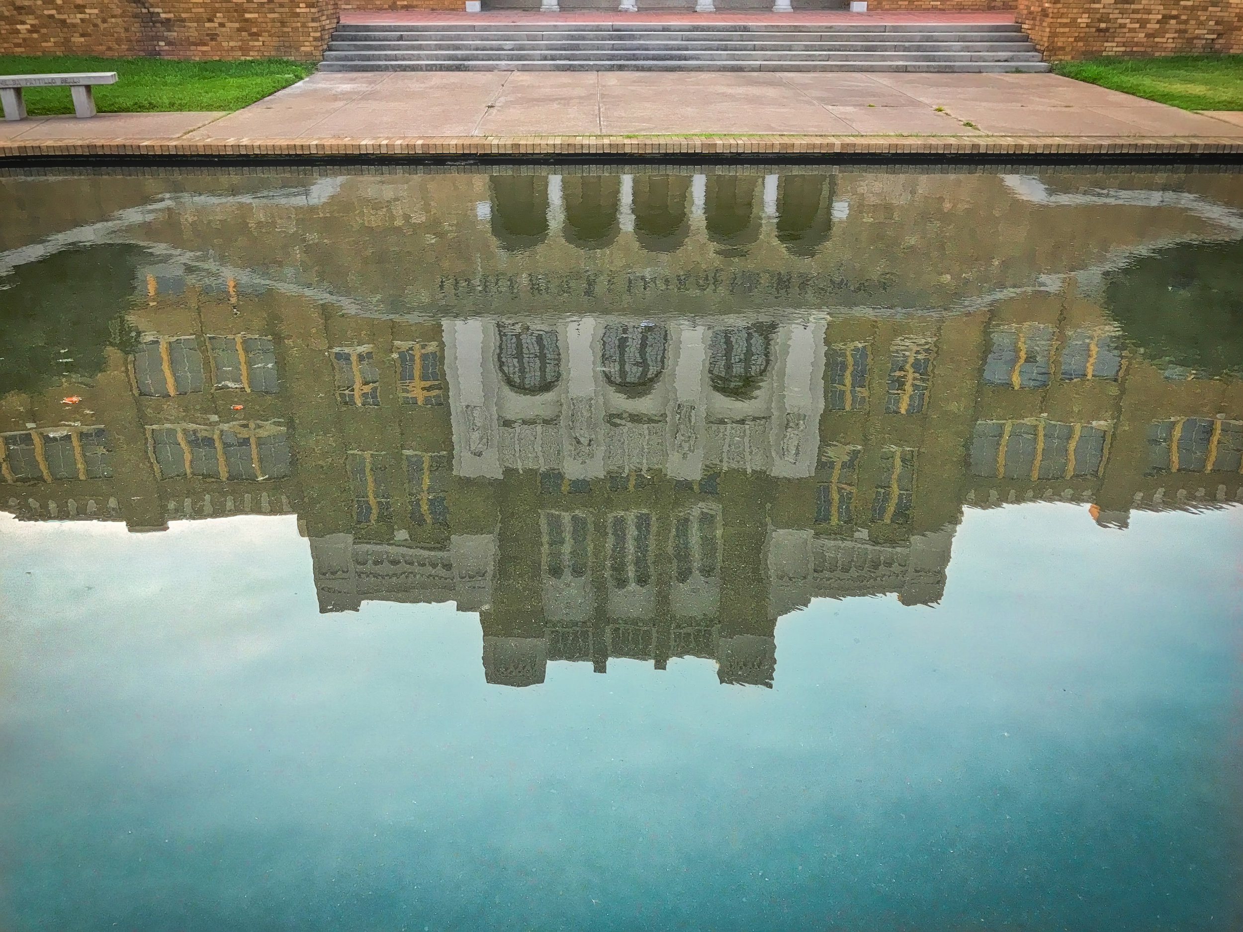 At the edge of the reflecting pool