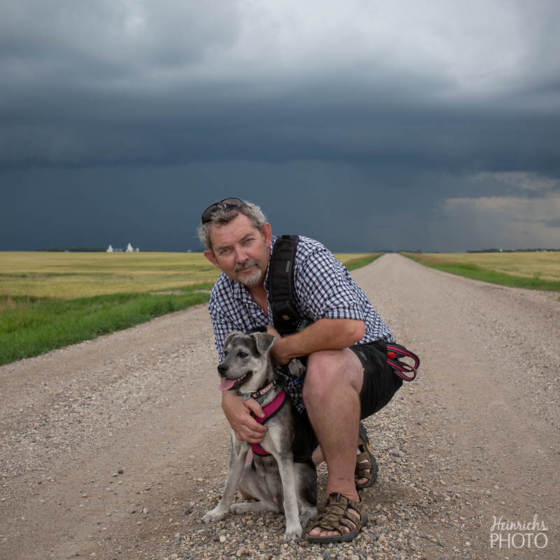 Dan with storm chasing pup Macy - July 19, 2018