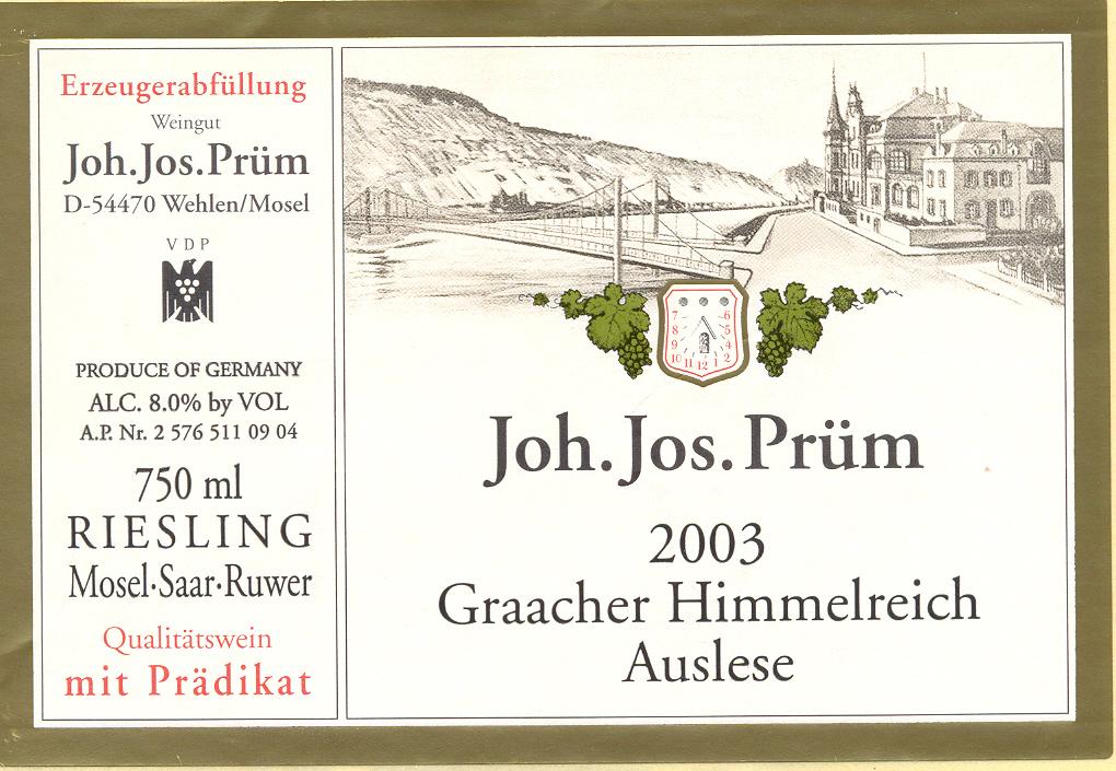 2003 Joh. Jos. Prüm Graacher Himmelreich Riesling Auslese AP 09 04.jpg