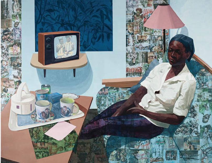 Njideka Akunyili Crosby's  Super Blue Omo,  2016. |  Courtesy of Norton Museum of Art. ©  Njideka Akunyili Crosby.