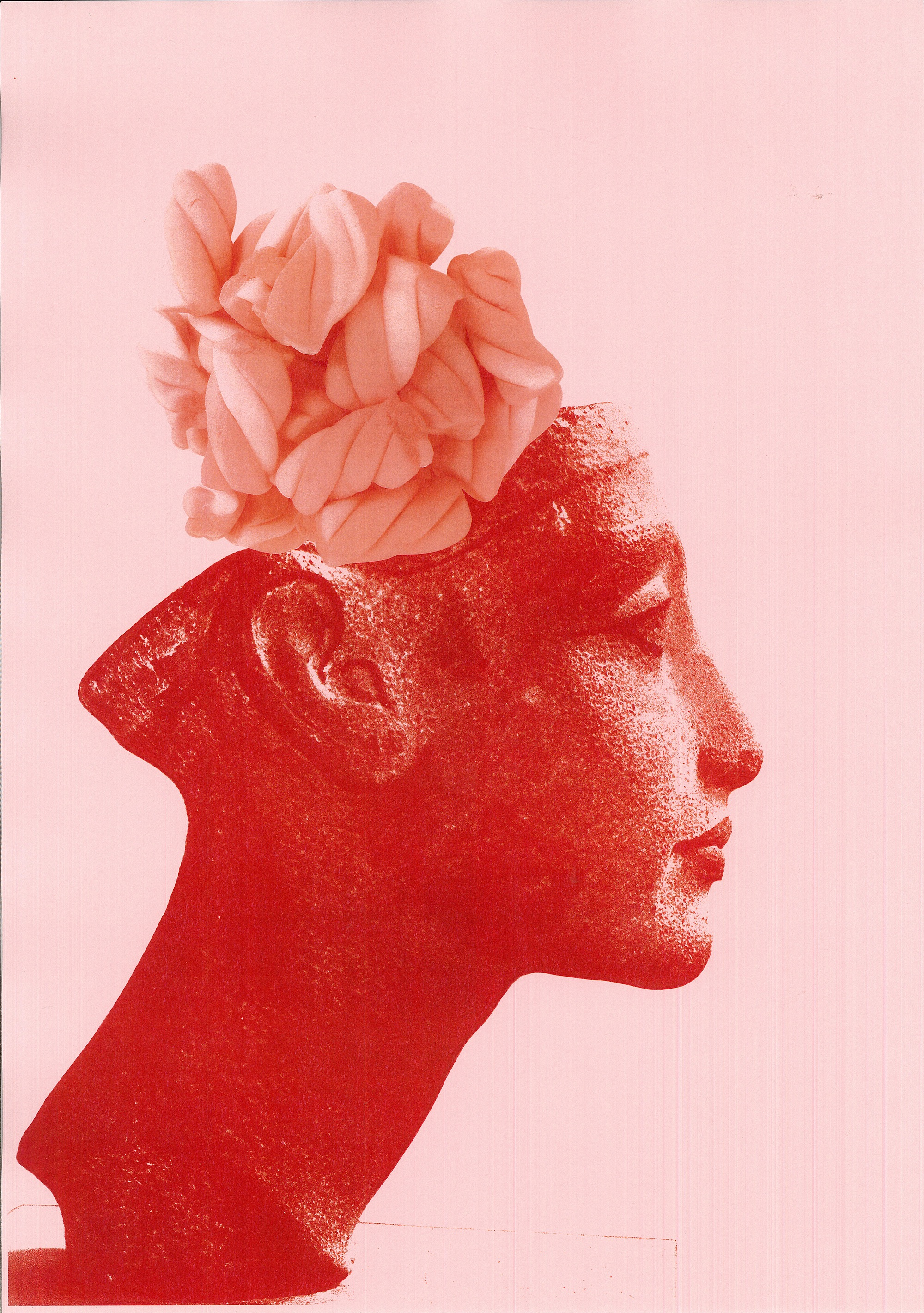 (Nefertiti Crowned with Flumps) In Ecstasy       - red on pink photocopy of Nefertiti statue crowned with flump sweets, printed on self-adhesive film, 2014