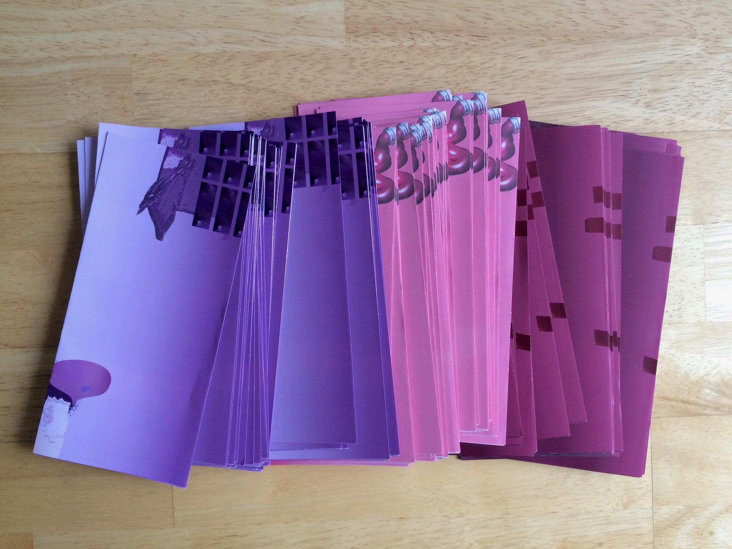 Lavender, Pink, Puce         - roll-folded leaflets