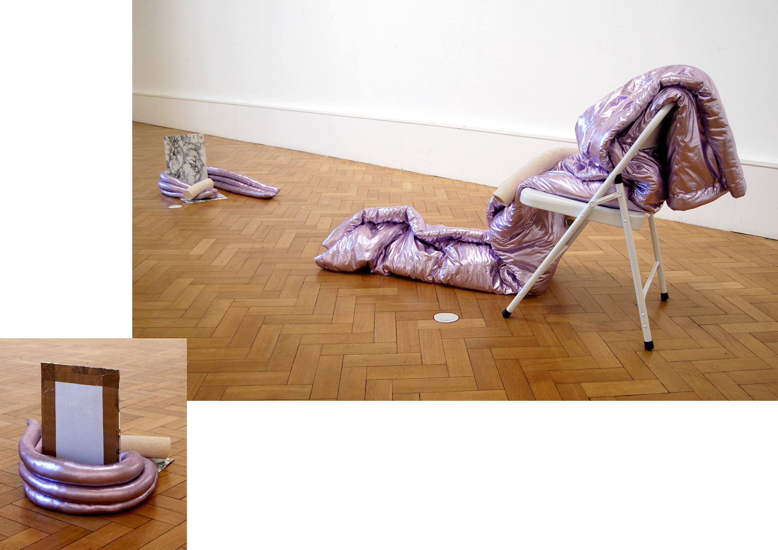 Same, same but different, different, so let's move in together – Brugge / London     - metallic lavender PVC, wadding and extruded clay on white Habitat chair and 'marmi' self-adhesive film, packing tape and card, with vinyl cut-out, 2017
