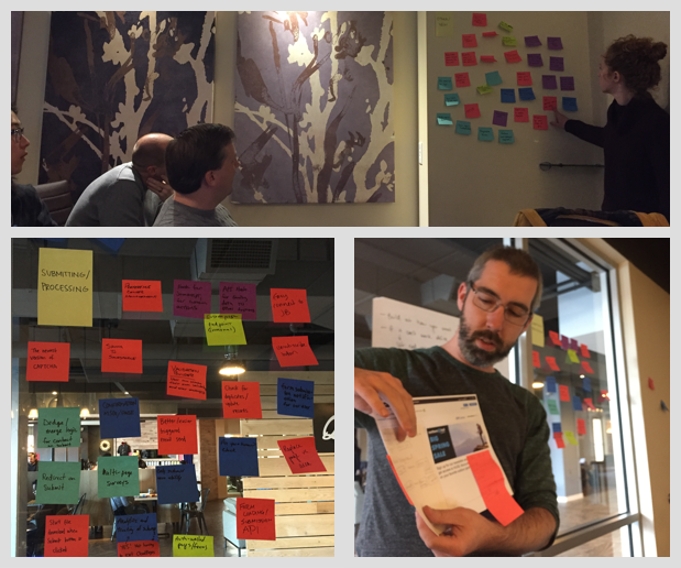 Snapshots from our workshop include ideation with post-its, and sharing paper prototypes created in small group activities.