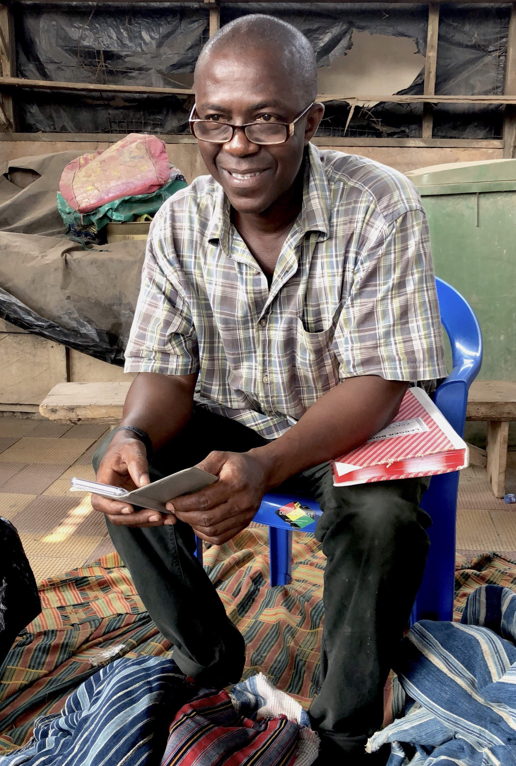 kwasi - our vintage fabric supplier with the most beautiful West African garments