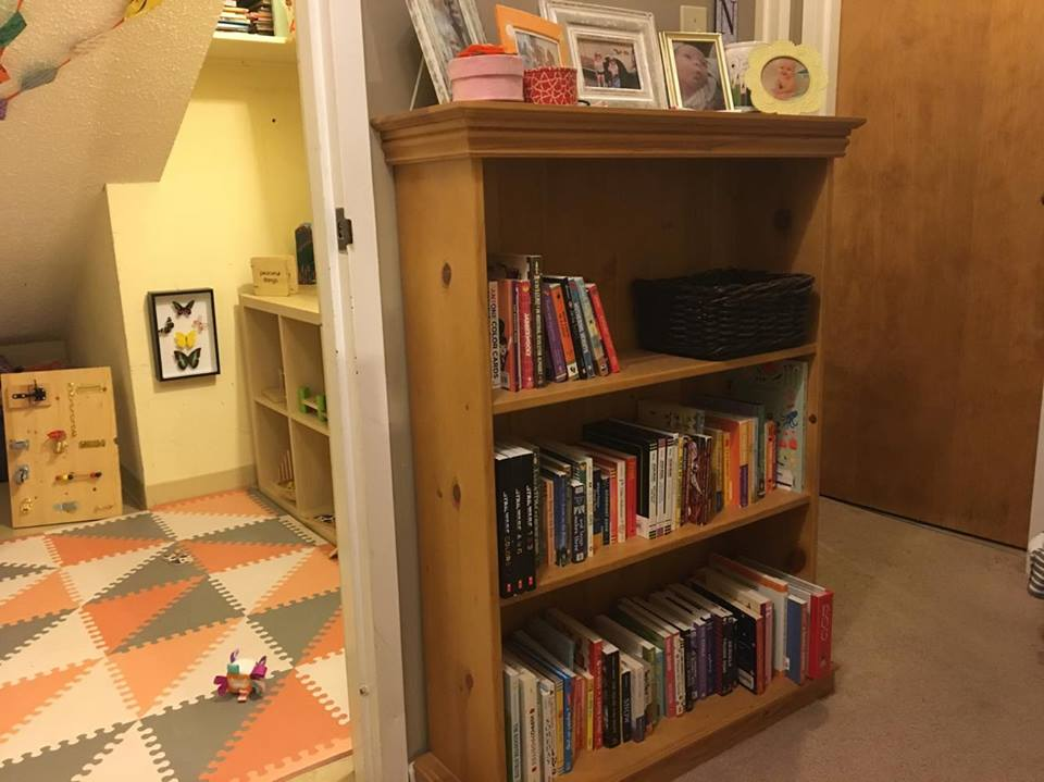 Right up the stairs- Noora's playroom (a converted storage closet), the bookcase where I store our board books, and then Noora's bedroom (next to the bookcase), and the bathroom (the big closed door). Our bedroom is across from Noora's.