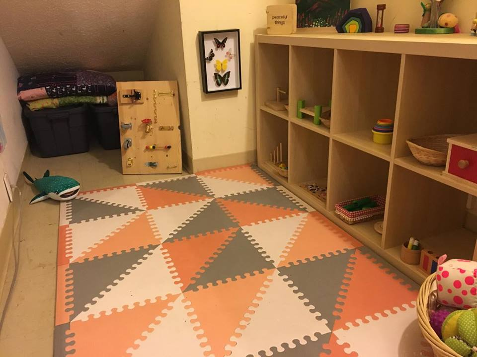 The playroom was a large, walk in storage closet at the top of our stairs. We didn't need it for storage, so it became the perfect tiny space for Noora's play area.