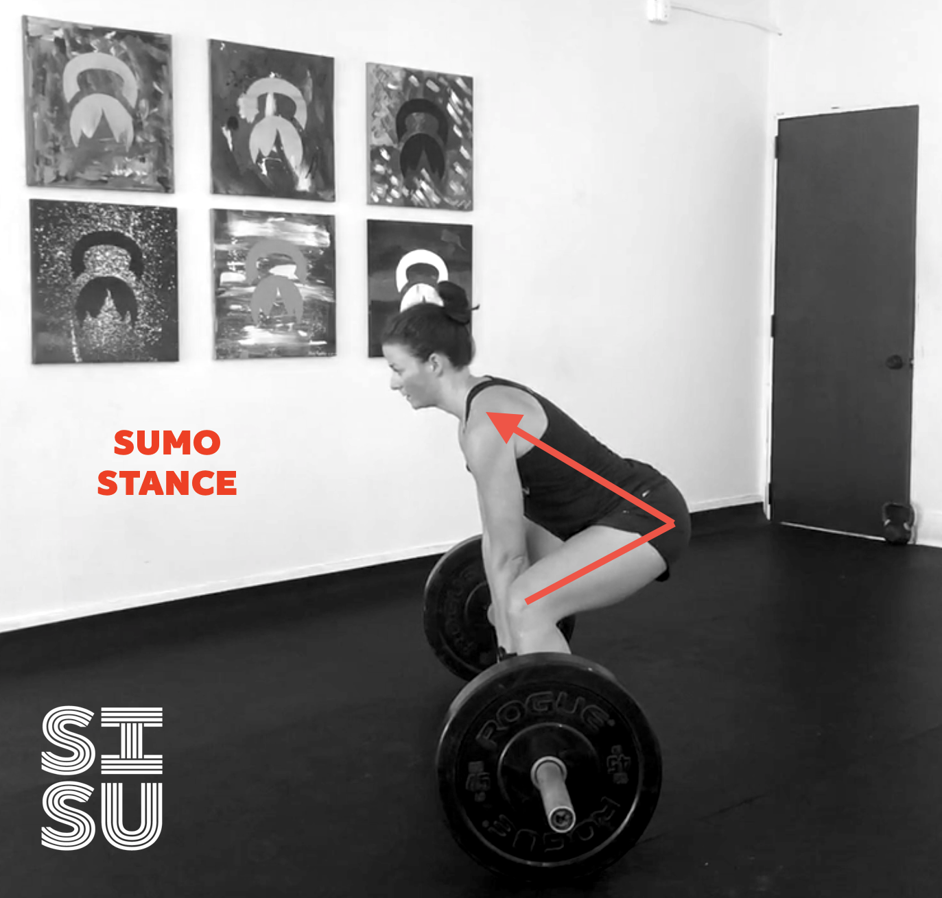 Sumo stance brings the spine more vertical