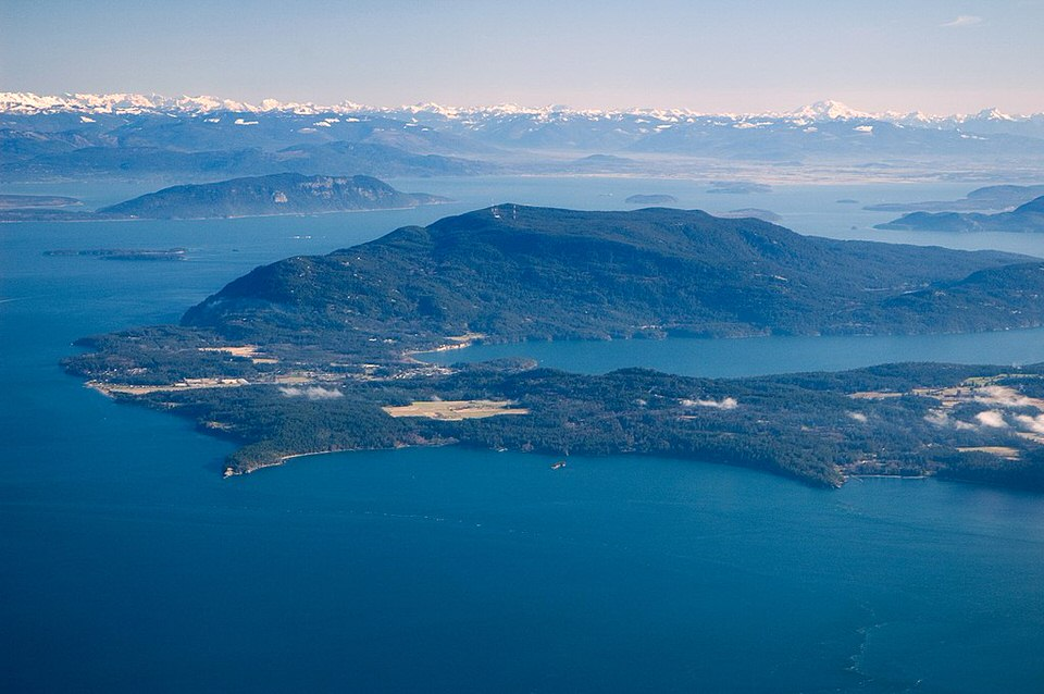 Photo: Aerial view of Orcas Island, Washington,  a work of an    Environmental Protection Agency    employee, taken as part of that person's official duties. As    works    of the    U.S. federal government   , all EPA images are in the     public domain    .