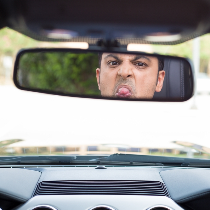 Okay, stop that! You have to put on your grown-up face in traffic.