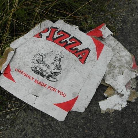 Discarded pizza box, Cregganconroe cc-by-sa/2.0 - © Kenneth Allen - geograph.org.uk/p/3579577