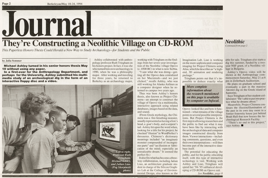Ruth Tringham and Michael Ashley in the Berkeley Journal, May 1994 for Michael's digital undergraduate honors thesis!