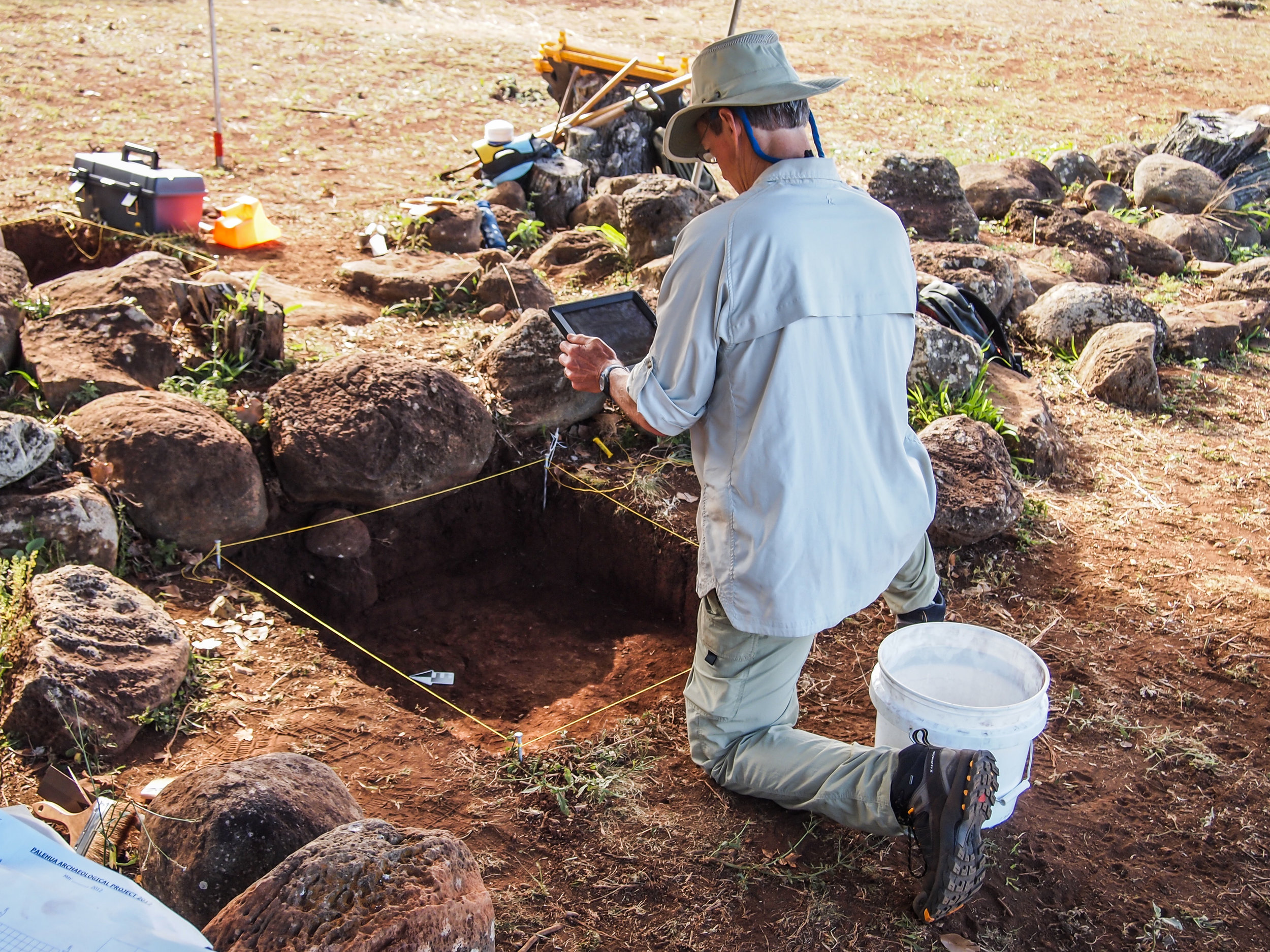 Tim Gill conducting digital documentation for one of the excavated areas