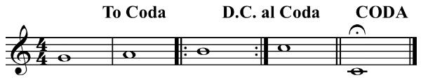 """Da Capo al coda example short"" by Hyacinth at the English language Wikipedia. Licensed under CC BY-SA 3.0 via Wikimedia Commons"