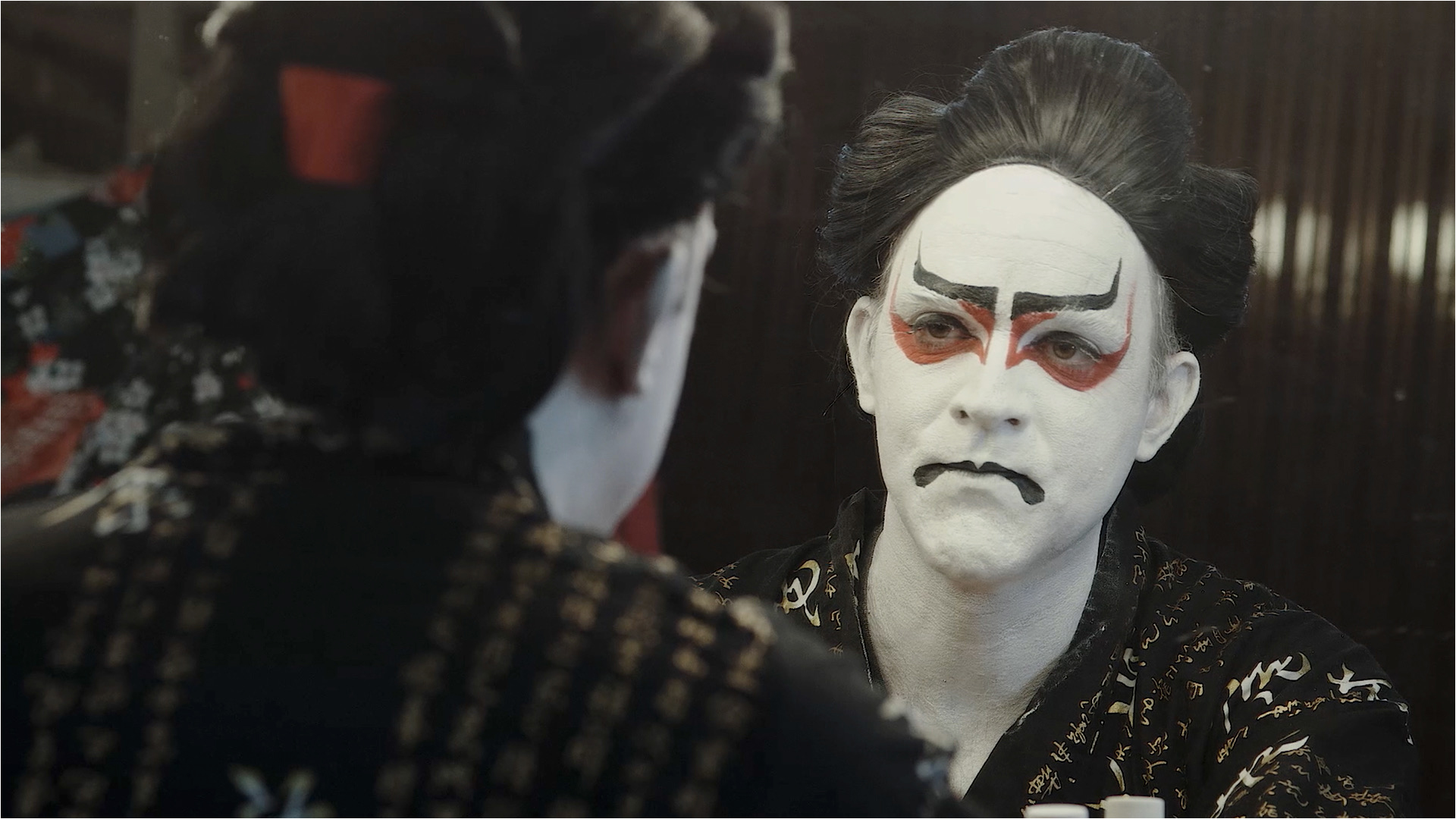 "Fallen legend: a disillusioned Peter Fleming in his dressing room, preparing for his final performance of his latest work, ""Kabuki Wow."""