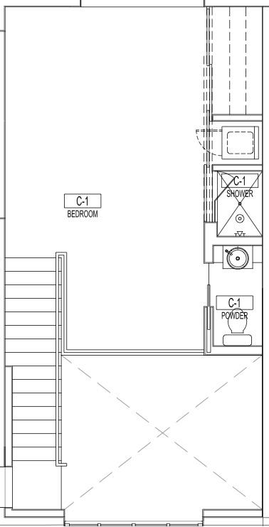 Second Story Bedroom Loft of Apartment C1
