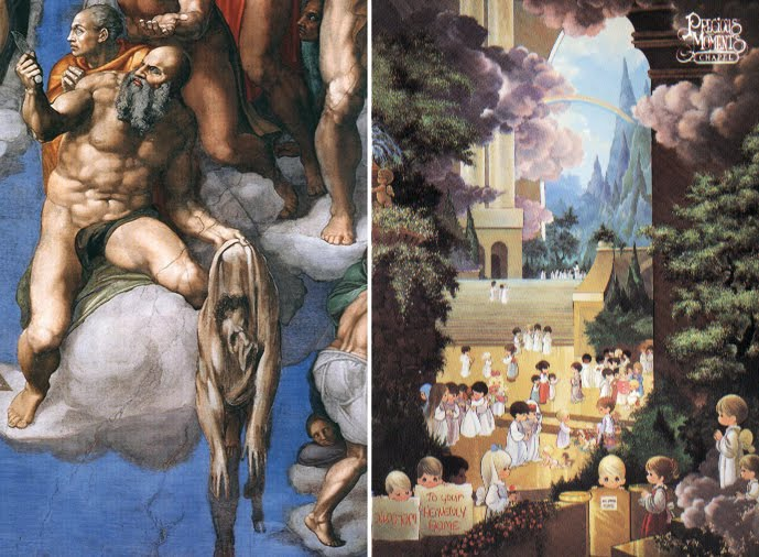 "Left, St. Bartholomew holding the flayed skin which bears a self-portrait of Michaelangelo in the ""The Last Judgement."" Right, ""Hallelujah Square,"" in the Precious Moments Chapel."