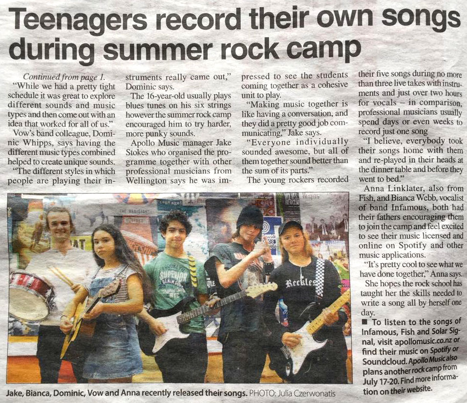 Teenagers record their own songs during Summer Rock Camp Holiday Programme