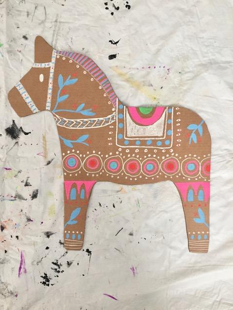 DIY Cardboard Dala Horse 6