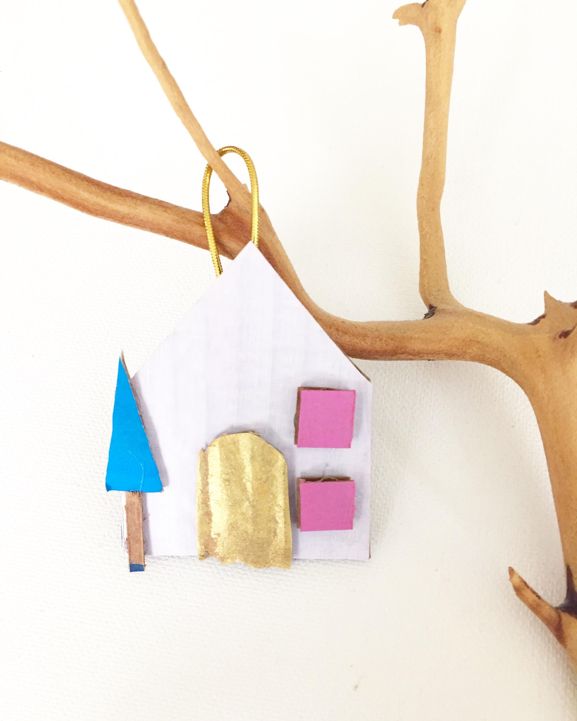 Cardboard House Ornament - 6