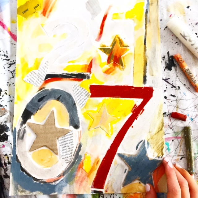 New Year Mixed Media Collage