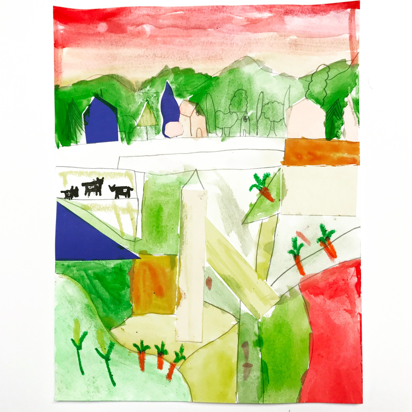 This student from the green table chose paper from the blue table and a pop of red from the red table. Look at the balance and harmony they achieved by repeating the blue paper in the foreground and the background.  The student added a final layer with oil pastel. How cute are those carrots and corn stalks?