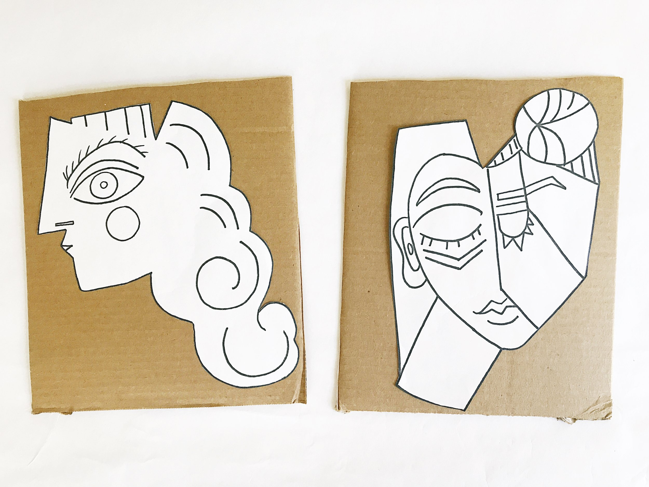 You can use our face printables to trace the outer line of our face shape onto cardboard or simply color them in and assemble!