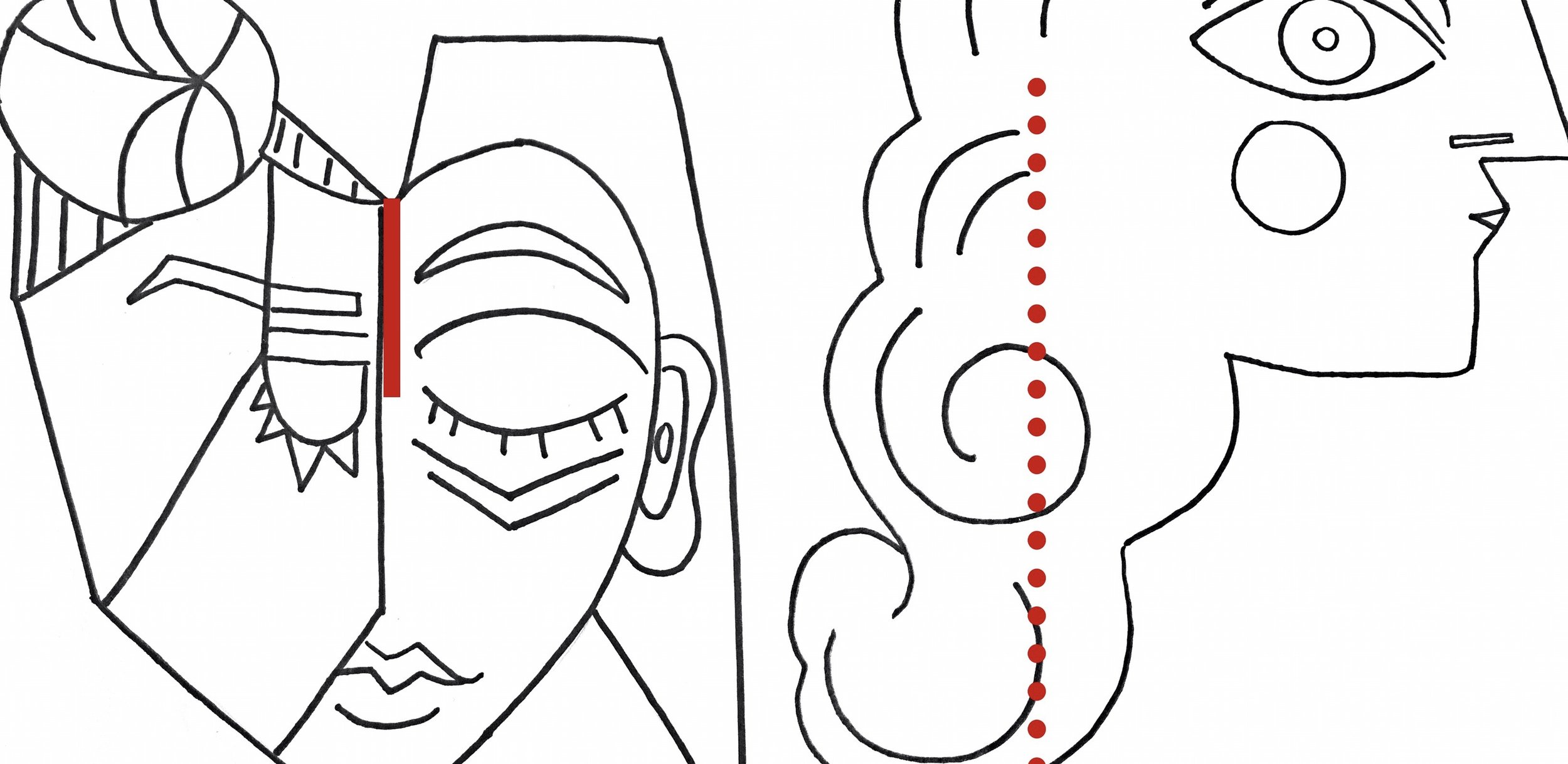 Red = where to cut your facial notches.