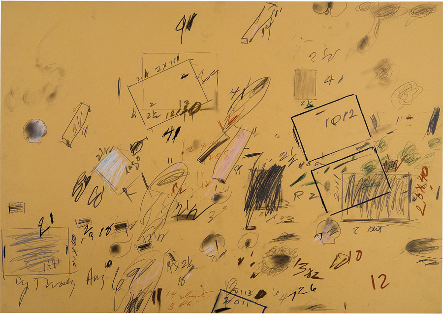 Cy Twombly, Untitled (Bolsena), 1969, pencil, wax crayon, and felt-tip pen, 27 3/4 × 39 3/8 inches (70.3 × 100 cm) © Cy Twombly Foundation