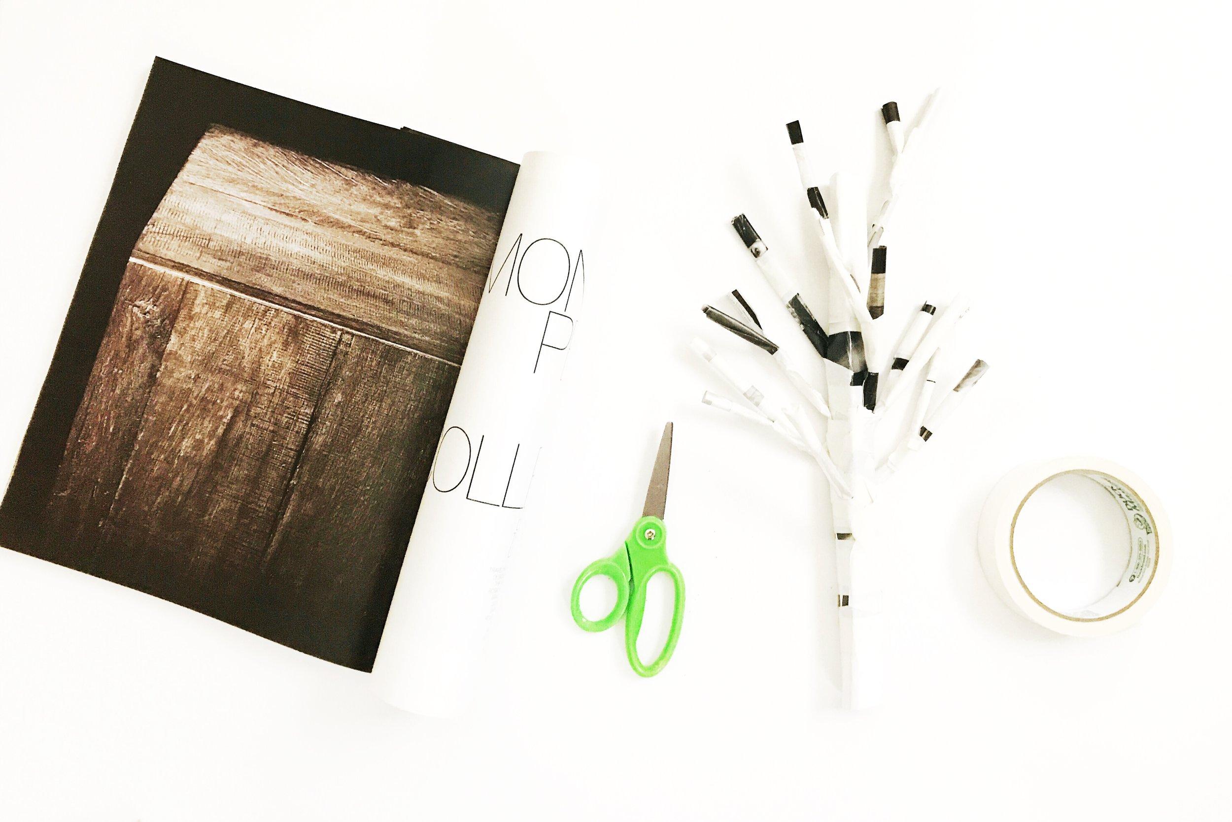 Rolled Paper + Yarn Tree