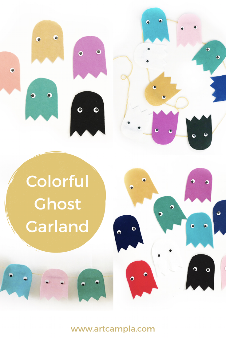Colorful Ghost Garland Art Camp