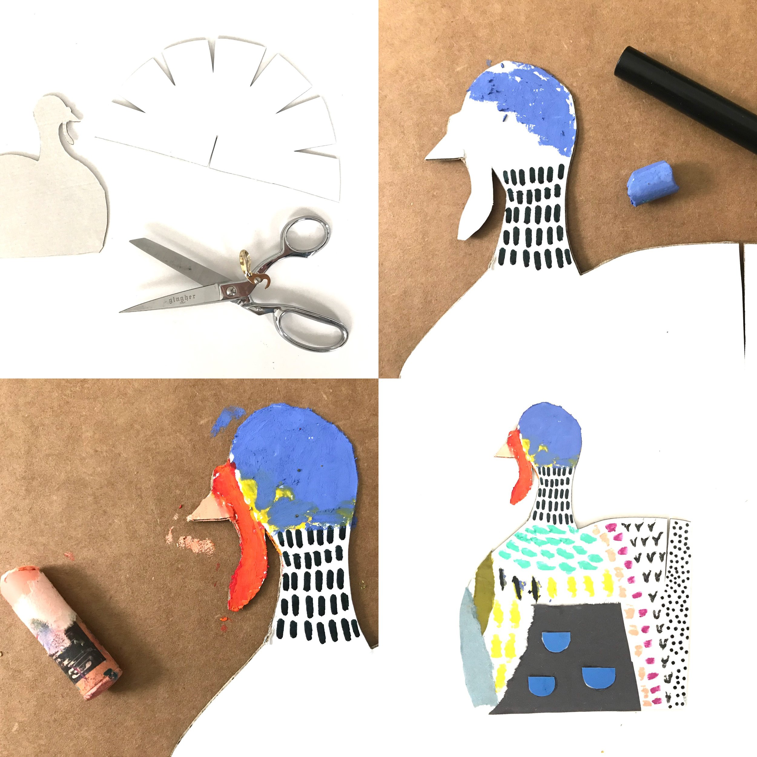 CARDBOARD COLLAGE TURKEYS