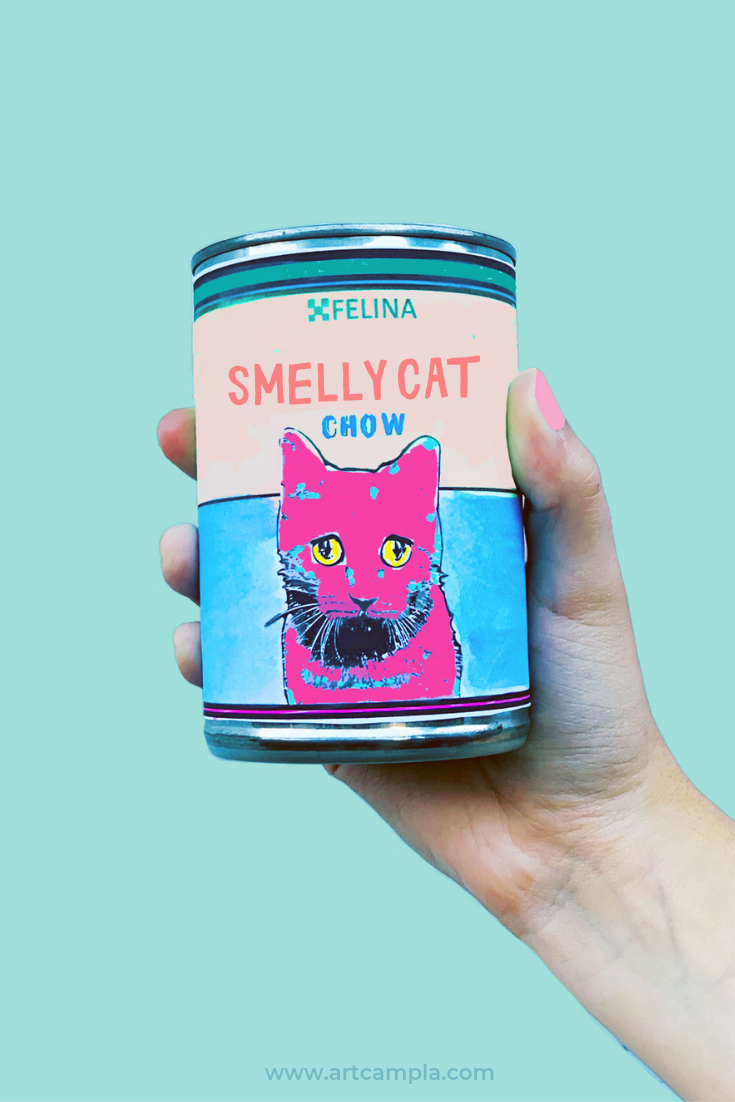 DIY: SMELLY CAT CHOW POP ART CANS!